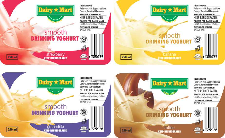 dairy mart drinking yogurt labels 250 ml