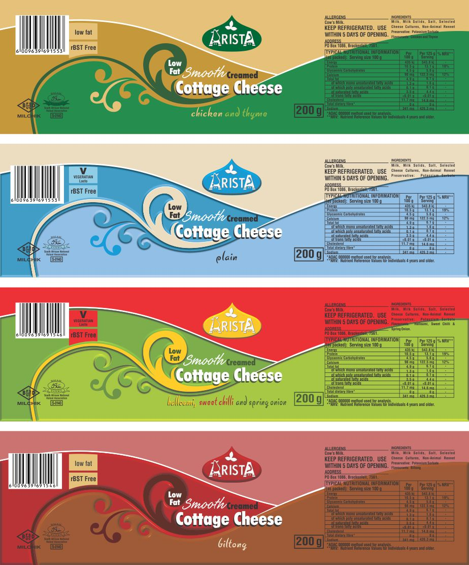 Arista Dairies Cottage Cheese Tub Labels