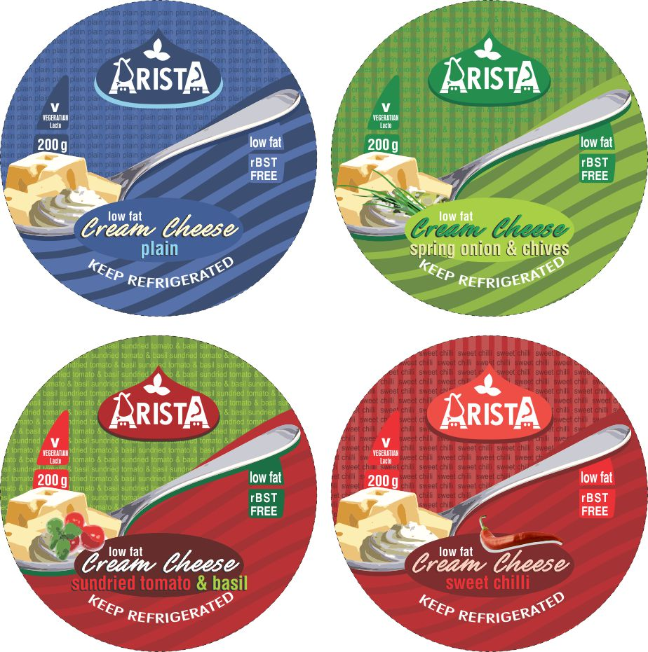 Arista Dairies Cream Cheese Lid Designs