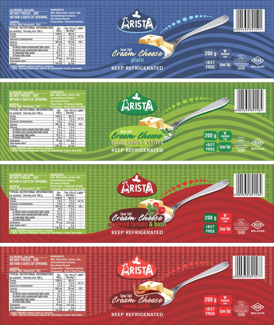 Arista Dairies Cream Cheese Tub Labels